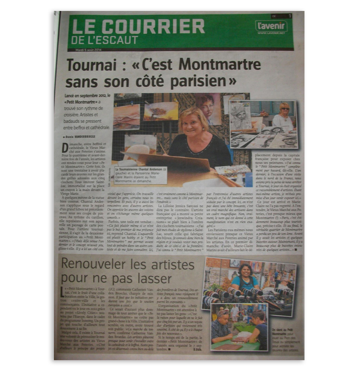 Interview dans le Courrier de L'Escaut